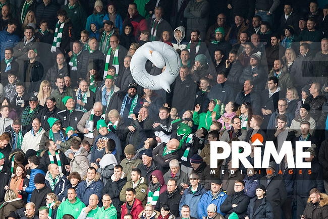 Leatherhead supporters during the FA Cup 2nd round match between Wycombe Wanderers and Leatherhead at Adams Park, High Wycombe, England on 3 December 2017. Photo by Kevin Prescod.