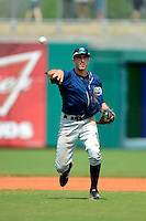 Mobile BayBears shortstop Nick Ahmed #7 during a game against the Montgomery Biscuits on April 16, 2013 at Riverwalk Stadium in Montgomery, Alabama.  Montgomery defeated Mobile 9-3.  (Mike Janes/Four Seam Images)