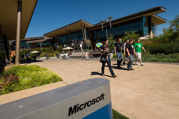 9/5/2012--Redmond, WA, USA..The Commons on Microsoft's campus in Redmond, WA. ..Microsoft initially moved onto the grounds of the campus on February 26, 1986, weeks before the company went public on March 13. The headquarters has since experienced multiple expansions since its establishment...It is estimated to encompass over 8 million ft2 (750,000 m2) of office space and 30,000-40,000 employees. Additional offices are located in nearby Bellevue and Issaquah  and the company has about 90,000 employees world-wide...©2012 Stuart Isett. All rights reserve.