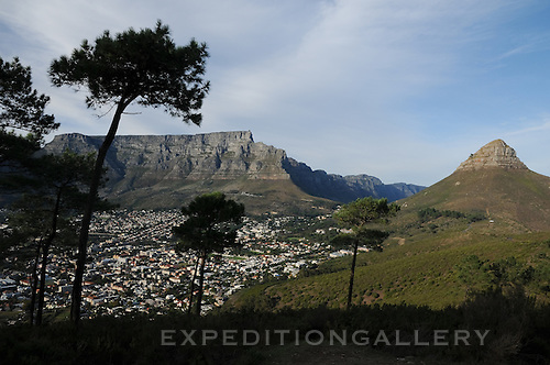 View of Table Mountain over Cape Town, South Africa.