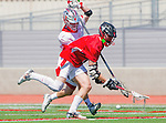 Palos Verdes, CA 03/26/16 - Sander Lush (San Clemente #8) and unidentified Palos Verdes player(s) in action during the CIF Boys Lacrosse game between San Clemente Tritons and the Palos Verdes Seakings at Palos Verdes High School.  Palos Verdes defeated San Clemente 11-6