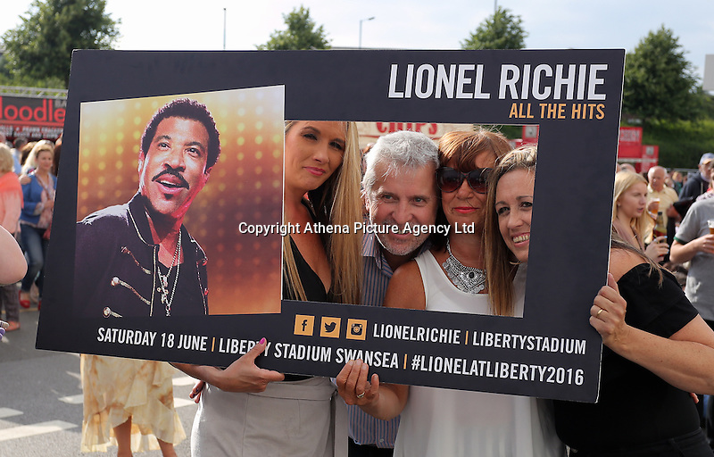 Pictured: People take selfies outside the stadium Saturday 18 June 2016<br /> Re: Lionel Richie, All The Hits concert at the Liberty Stadium, Swansea, Wales, UK