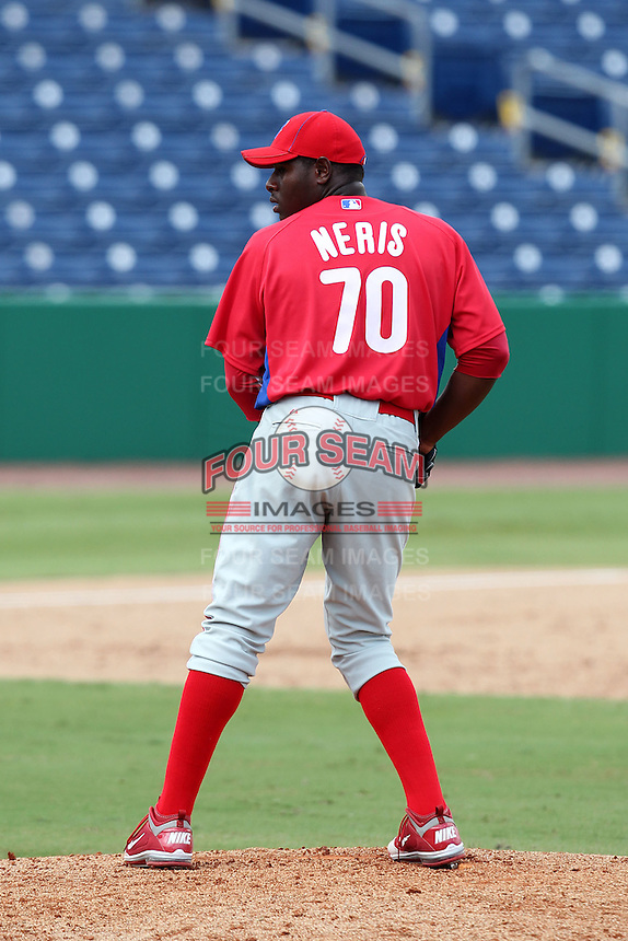 Philadelphia Phillies pitcher Hector Neris #70 during an Instructional League game against the  Detroit Tigers at Bright House Networks Field on October 10, 2011 in Clearwater, Florida.  (Mike Janes/Four Seam Images)