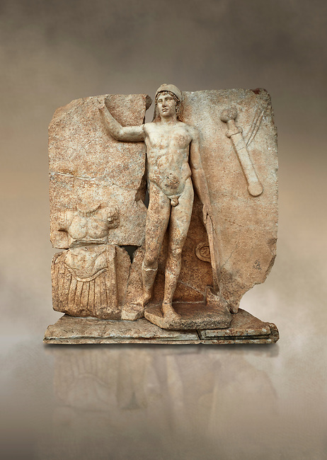 Roman Sebasteion relief  sculpture of Ares, Aphrodisias Museum, Aphrodisias, Turkey.  Against an art background.<br /> <br /> The nude and classically7 styled young god wears only a helmet and holds a spear (missing) in one hand and a shield in the other. At the left stands cuirass, and at the upper right corner hangs his sword. Ares was a god of war and was not later defaced by Christians probably because he so closely resembles a young emperor.