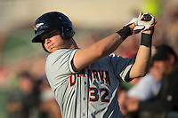 Alex Murphy (32) of the Delmarva Shorebirds takes a practice swing in the on deck circle during the game against the Kannapolis Intimidators at Kannapolis Intimidators Stadium on April 23, 2016 in Kannapolis, North Carolina.  The Shorebirds defeated the Intimidators 4-2.  (Brian Westerholt/Four Seam Images)