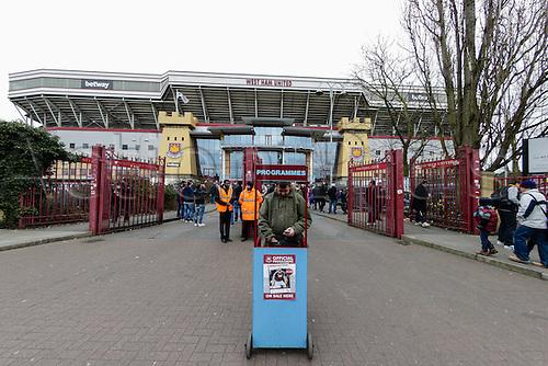 21.03.2015.  London, England. Barclays Premier League. West Ham versus Sunderland.  Programmes for sales outside the Boleyn Ground