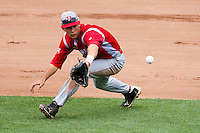 David Compitello (8) of the Bradley Braves attempts a backhand grab on a ground ball during a game against the Missouri State Bears on May 13, 2011 at Hammons Field in Springfield, Missouri.  Photo By David Welker/Four Seam Images