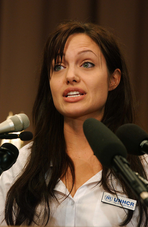 6/19/03.UNACCOMPANIED ALIEN CHILD PROTECTION ACT OF 2003--Actress Angelina Jolie, who is the Goodwill Ambassador for United Nations High Commissioner for Refugees, speaks during a news conference on legislation sponsored by Sen. Sam Brownback, R-Kan., and  Sen. Dianne Feinstein, D-Calif..CONGRESSIONAL QUARTERLY PHOTO BY SCOTT J. FERRELL