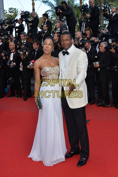 guest & Chris Tucker.'Cleopatra' premiere at the 66th  Cannes Film Festival, France..21st May 2013.full length white dress strapless black trousers tuxedo cream jacket.CAP/PL.©Phil Loftus/Capital Pictures.