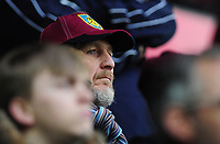 Burnley fan watches on during the game <br /> <br /> Photographer Ashley Crowden/CameraSport<br /> <br /> The Premier League - Swansea City v Burnley - Saturday 10th February 2018 - Liberty Stadium - Swansea<br /> <br /> World Copyright &copy; 2018 CameraSport. All rights reserved. 43 Linden Ave. Countesthorpe. Leicester. England. LE8 5PG - Tel: +44 (0) 116 277 4147 - admin@camerasport.com - www.camerasport.com