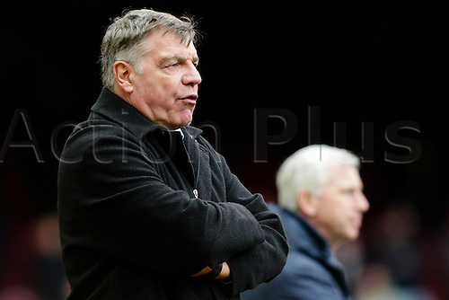 28.02.2015.  London, England. Barclays Premier League. West Ham United versus Crystal Palace.  West Ham United's Manager Sam Allardyce not looking happy on the sidelines