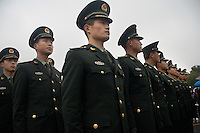 Military soldiers arrive for a ceremony at the Memorial Hall of the Nanjing Massacre in Nanjing, Jiangsu, China on Dec. 13, 2009. On Dec. 13, 2009, thousands of people visited The Memorial Hall of the Nanjing Massacre in Nanjing, Jiangsu, China, to remember those who died at the hands of Japanese soldiers in 1937-8.  The day marked the 72nd anniversary of the start of the massacre. The historical account has always been mired in controversy, and differing opinions on what actually happened have been a consistent obstacle to relations between China and Japan.  China's official account of history states that 300,000 people were killed by Japanese forces over a 6-week period starting Dec. 13, 1937