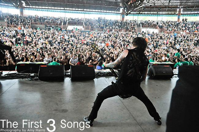 Sam Bettley of Asking Alexandria backstage at the 2012 Rockstar Energy Drink Mayhem Festival at Blossom Music Center in Cincinnati, Ohio.