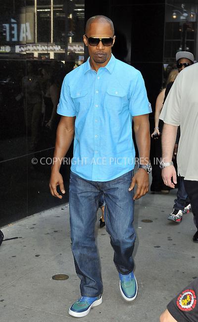 WWW.ACEPIXS.COM<br /> <br /> June 26 2013, New York City<br /> <br /> Jamie Foxx leaving Good Morning America on June 26 2013 in New York City<br /> <br /> By Line: Romeo/ACE Pictures<br /> <br /> <br /> ACE Pictures, Inc.<br /> tel: 646 769 0430<br /> Email: info@acepixs.com<br /> www.acepixs.com