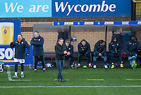 Wycombe Wanderers Manager Gareth Ainsworth and his bench during the Sky Bet League 2 match between Wycombe Wanderers and Newport County at Adams Park, High Wycombe, England on 2 January 2017. Photo by Andy Rowland.