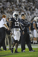 27 September 2008:  Penn State QBs coach Jay Paterno talks with QB Daryll Clark (17).  The Penn State Nittany Lions defeated the Illinois Fighting Illini 38-24 September 27, 2008 at Beaver Stadium in State College, PA..