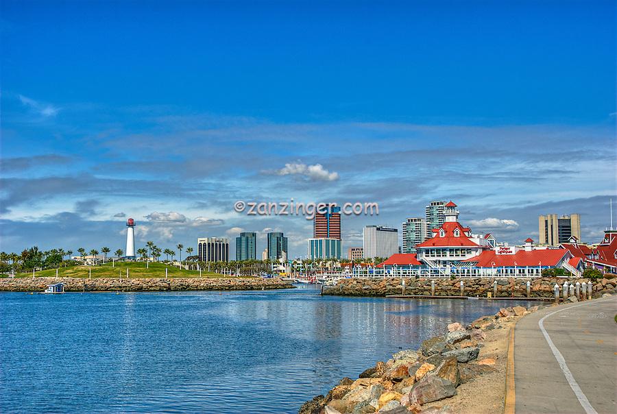 Long Beach, CA, Skyline, Rainbow Harbor, Parker Lighthouse, Pacific Ocean, breakwater, southern coast