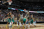 03 APR 2012:  Kimetria Hayden (1) of Baylor University jumps to shoot over Brittany Mallory (22) of the University of Notre Dame during the Division I Women's Basketball Championship held at the Pepsi Center in Denver, CO.  Jamie Schwaberow/NCAA Photos