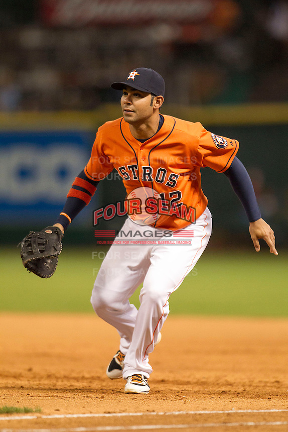 Houston Astros first baseman Carlos Pena (12) on defense during the MLB baseball game against the Detroit Tigers on May 3, 2013 at Minute Maid Park in Houston, Texas. Detroit defeated Houston 4-3. (Andrew Woolley/Four Seam Images).