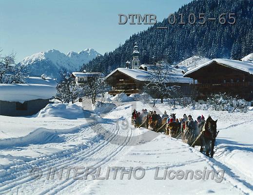 Gerhard, CHRISTMAS LANDSCAPE, photos, A-Schlittengespanne in Oberau.Tirol(DTMB0105-65,#XL#) Landschaften, Weihnachten, paisajes, Navidad