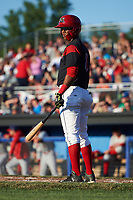 Batavia Muckdogs shortstop Marcos Rivera (8) at bat during a game against the Auburn Doubledays on July 4, 2017 at Dwyer Stadium in Batavia, New York.  Batavia defeated Auburn 3-2.  (Mike Janes/Four Seam Images)