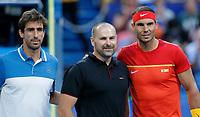 6th January 2020; RAC Arena, Perth, Western Australia; ATP Cup Australia, Perth, Day 4; Spain versus Uruguay; Rafael Nadal of Spain and Pablo Cuevas of Uruguay pose for a photograph - Editorial Use