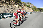 Pavel Kochetkov and Ilnur Zakarin (RUS) Team Katusha Alpecin on the slopes of Sierra de la Alfaguara  during Stage 4 of the La Vuelta 2018, running 162km from Velez-Malaga to Alfacar, Sierra de la Alfaguara, Andalucia, Spain. 28th August 2018.<br /> Picture: Eoin Clarke | Cyclefile<br /> <br /> <br /> All photos usage must carry mandatory copyright credit (&copy; Cyclefile | Eoin Clarke)
