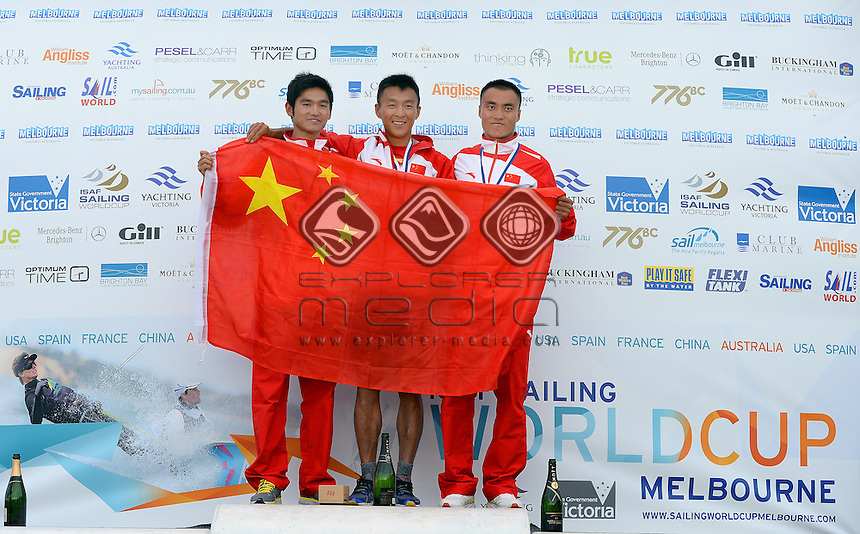 RSX-Men / Podium (L-R)<br /> 3: Zhengnan FANG (CHN)<br /> 1: Chuankun SHI (CHN)<br /> 2: Chunzhuang LIU (CHN)<br /> 2013 ISAF Sailing World Cup - Melbourne<br /> Sail Melbourne - The Asia Pacific Regatta<br /> Sandringham Yacht Club, Victoria<br /> December 1st - 8th 2013<br /> &copy; Sport the library / Jeff Crow