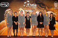 The Netherlands, Den Bosch, 16.04.2014. Fed Cup Netherlands-Japan, The Dutch and the Japanese team together<br /> Photo:Tennisimages/Henk Koster