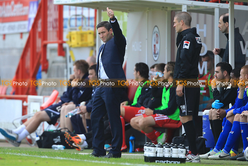 Oldham Athletic Manager Lee Johnson gives the thumbs up to the fans - Crawley Town vs Oldham Athletic - Sky Bet League One Football at the Broadfield Stadium Crawley, West Sussex - 28/09/13 - MANDATORY CREDIT: Simon Roe/TGSPHOTO - Self billing applies where appropriate - 0845 094 6026 - contact@tgsphoto.co.uk - NO UNPAID USE