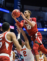 NWA Democrat-Gazette/BEN GOFF @NWABENGOFF<br /> Daniel Gafford, Arkansas forward, shoots as Andrew Nembhard, Florida guard, defends in the second half Thursday, March 14, 2019, during the second round game in the SEC Tournament at Bridgestone Arena in Nashville.