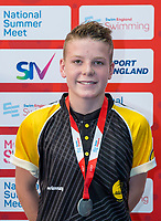 Picture by Allan McKenzie/SWpix.com - 05/08/2017 - Swimming - Swim England National Summer Meet 2017 - Ponds Forge International Sports Centre, Sheffield, England - Jacob Davis takes silver in the mens 13/14yrs 50m breaststroke.