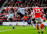 Derby County's midfielder Tom Huddlestone (44) clears in a crowded box during the Sky Bet Championship match between Nottingham Forest and Derby County at the City Ground, Nottingham, England on 10 March 2018. Photo by Stephen Buckley / PRiME Media Images.