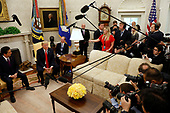United States President Donald J. Trump meets with Prime Minister of Japan Shinzo Abe in the Oval Office of the White House on June 7, 2018 in Washington, DC.<br /> Credit: Yuri Gripas / Pool via CNP