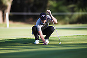 9th February 2018, Lake Karrinyup Country Club, Karrinyup, Australia; ISPS HANDA World Super 6 Perth golf, second round; Danny Willett (ENG) lines up his putt