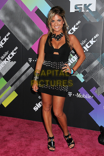 BRIDGETTA TOMARCHIO.The T-Mobile Sidekick 4G Launch Party held at a private lot in Beverly Hills, California, USA..April 20th 2011.full length black dress hand on hip studs studded choker necklace open toe sandals shoes  .CAP/ADM/BP.©Byron Purvis/AdMedia/Capital Pictures.