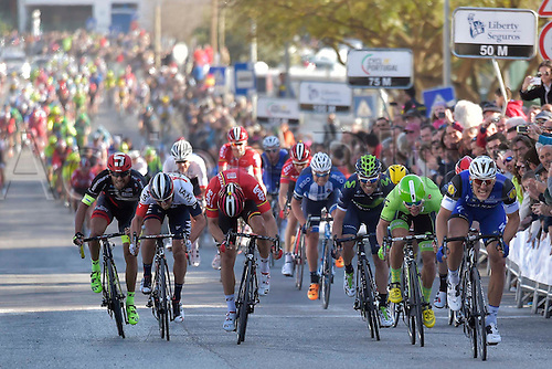 20.02.2016. Alportel, Portugal.  KITTEL Marcel (GER) Rider of ETIXX - QUICK STEP wins the sprint before WIPPERT Wouter (NED) Rider of CANNONDALE PRO CYCLING TEAM and DEBUSSCHERE Jens (BEL) Rider of LOTTO SOUDAL at the end of  stage 4 of the 42nd Tour of Algarve cycling race with start in S. Brss de Alportel and finish in Tavira on February 20, 2016 in Tavira, Portugal.