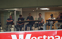 Black Caps members including coach Andy Moles (left) and captain Daniel Vettori (centre) watch the match during the A-League match between Wellington Phoenix and Newcastle Jets at Westpac Stadium, Wellington, New Zealand on Sunday, 4 January 2009. Photo: Dave Lintott / lintottphoto.co.nz