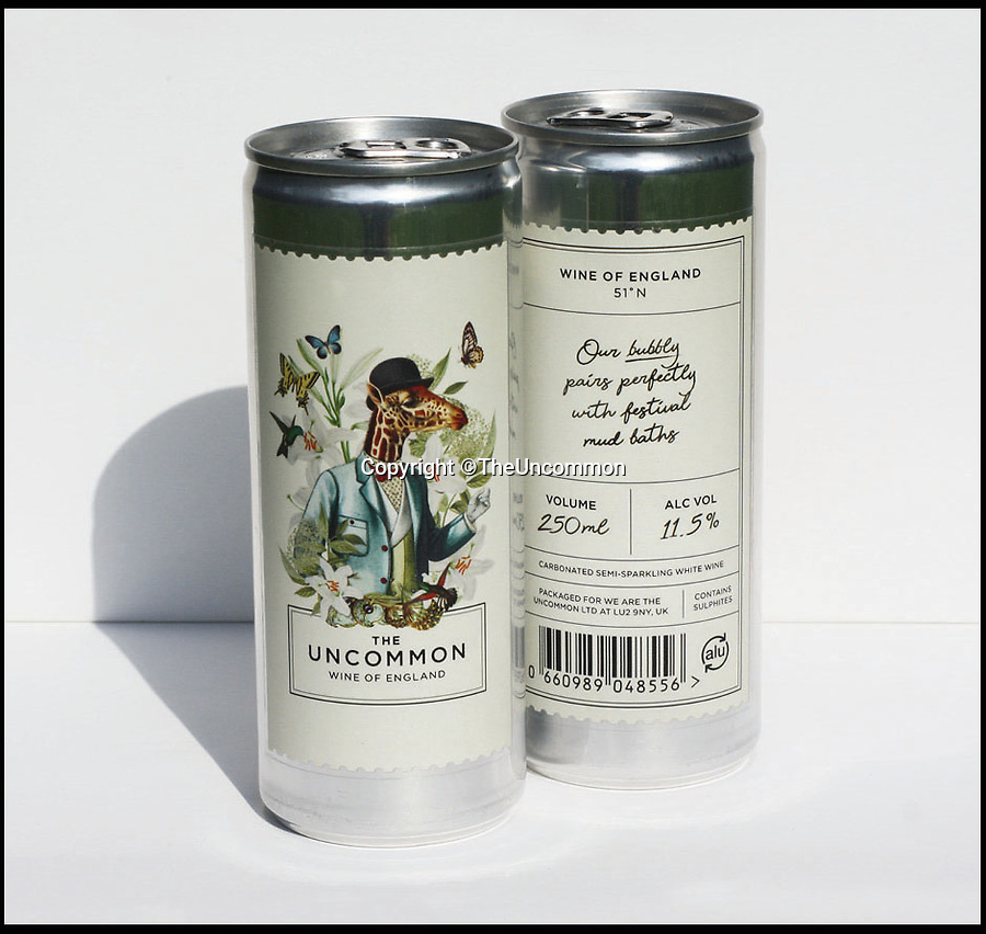 BNPS.co.uk (01202 558833)Pic: TheUncommon/BNPS<br /> <br /> Britain's first sparkling wine in a can that is aimed at reducing the billion litres of bubbly thrown away each year has been produced - in Peckham.<br /> <br /> But the new invention is not a Del Boy-type scam but the brainchild of two entrepreneurs who have already struck a deal to sell the cans in posh Selfridges. <br /> <br /> In a move that will make some wine connoisseurs turn their noses up, the English bubbly is now available to buy in 250ml aluminium cans at £5 a pop.<br /> <br /> The canned fizz is targeted at consumers who want a large glass of sparkling wine without having to open a whole bottle of Champagne or prosecco.