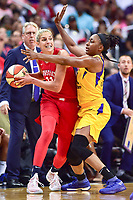 Washington, DC - August 17, 2018: Washington Mystics guard Elena Delle Donne (11) is guarded by Los Angeles Sparks forward Nneka Ogwumike (30) during game between the Washington Mystics and Los Angeles Sparks at the Capital One Arena in Washington, DC. (Photo by Phil Peters/Media Images International)