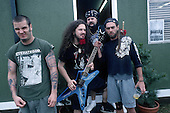 Pantera, Dimebag Darrel Abbott, Lead Guitar , entire Band Backstage Portrait Session at the Monsters of Rock Festival , at the Castle Donington Racetrack in Leicestershire, England.