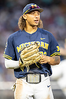 Michigan Wolverines outfielder Jordan Brewer (22) during Game 6 of the NCAA College World Series against the Florida State Seminoles on June 17, 2019 at TD Ameritrade Park in Omaha, Nebraska. Michigan defeated Florida State 2-0. (Andrew Woolley/Four Seam Images)