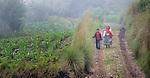 A woman and boy walk along a rural road in San Luis, a small Mam-speaking Maya village in Comitancillo, Guatemala.