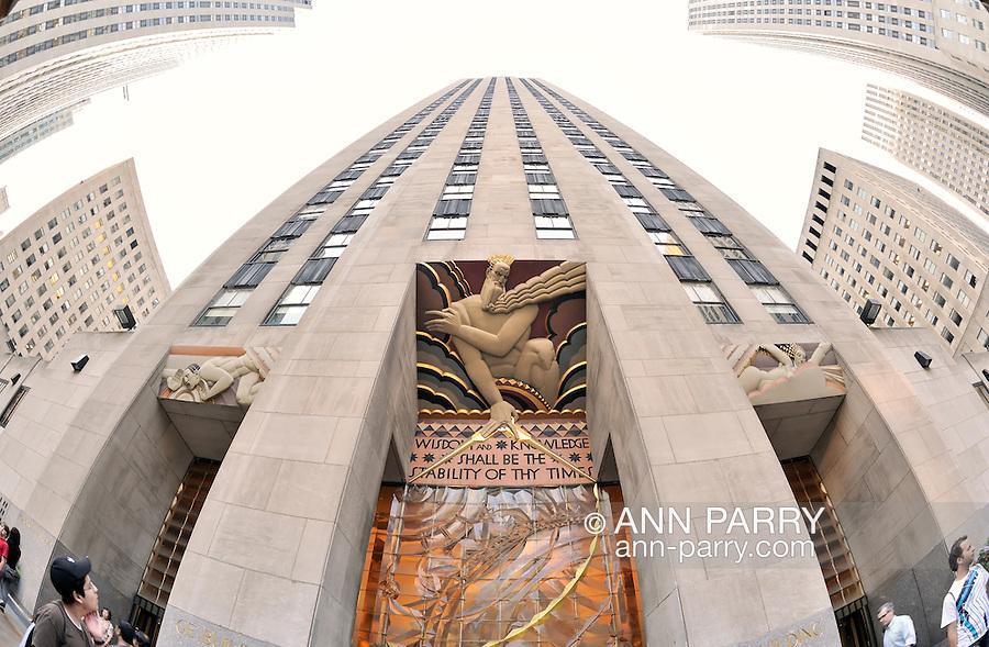 GE Building entrance at 30 Rockeller Center, Rockefeller Plaza, Manhattan, New York City, 2011 NOTE: 180 degree fisheye lens view. EDITORIAL USE ONLY