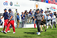 Louis Oosthuizen (RSA) departs the first tee during round 4 Singles of the 2017 President's Cup, Liberty National Golf Club, Jersey City, New Jersey, USA. 10/1/2017. <br /> Picture: Golffile | Ken Murray<br /> <br /> All photo usage must carry mandatory copyright credit (&copy; Golffile | Ken Murray)