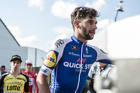 Race winner Fernando Gaviria (COL/Quick Step Floors) post race. Up to the podium with Dylan Groenewegen (NED/Team Lotto NL - Jumbo) and Jasper De Buyst (BEL/Lotto Soudal)<br /> <br /> 102nd Kampioenschap van Vlaanderen 2017 (UCI 1.1)<br /> Koolskamp - Koolskamp (192km