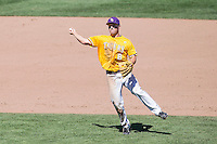 LSU Tigers shortstop Alex Bregman (8) makes a throw to first base during the NCAA College baseball World Series against the Cal State Fullerton on June 16, 2015 at TD Ameritrade Park in Omaha, Nebraska. LSU defeated Fullerton 5-3. (Andrew Woolley/Four Seam Images)