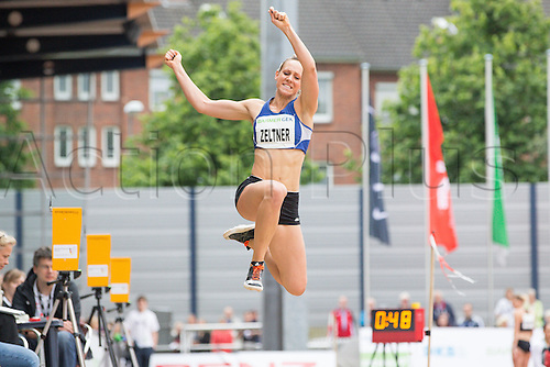 26.06.2016. Ratingen, Germany.  Swiss heptathlete Michelle Zeltner in action during the long jump segment at the Combined Events Challenge meeting in Ratingen, Germany, 26 June 2016.