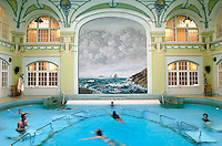 Swimming pool in old building with mural on wall.