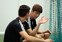 Pictured L-R: Federico fernandez and Ki Sung Yueng Tuesday 30 June 2015<br /> Re: Pre-season assessment of Swansea City FC players on the grounds of Swansea University, south Wales, UK